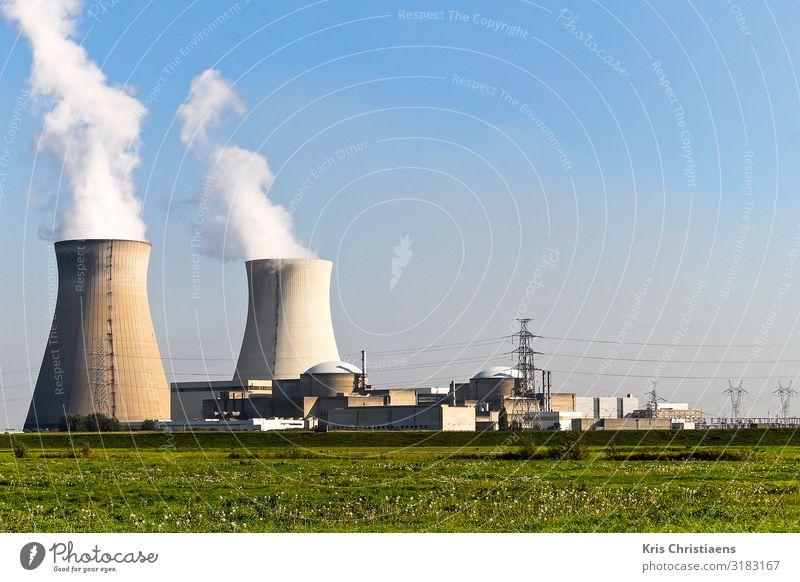 Kernkraftwerk Arbeitsplatz Fabrik Wirtschaft Technik & Technologie Energiewirtschaft Energiekrise Industrie Industrieanlage Bauwerk Beton Metall Stahl blau grün