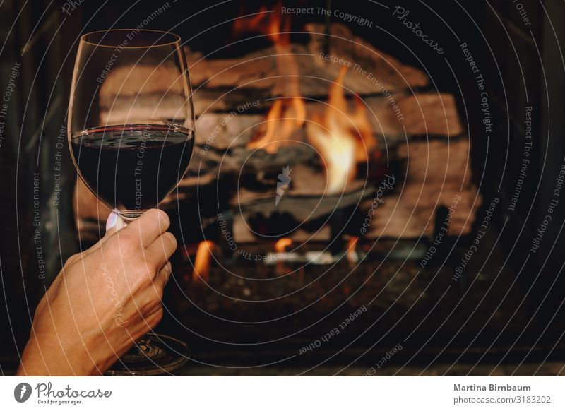Ein Glas Rotwein vor einem brennenden Kaminofen Alkohol Lifestyle Erholung Freizeit & Hobby Winter Haus Weihnachten & Advent Frau Erwachsene Hand Wärme dunkel