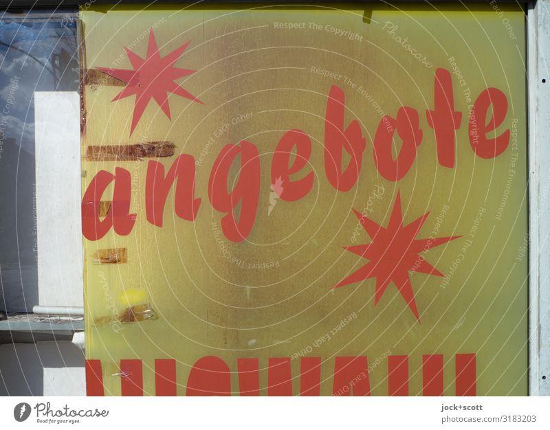 SONDERANGEBOT sparen Handel Schaufenster Wort Stern (Symbol) retro gelb orange Design Vergänglichkeit Typographie Grafik u. Illustration Komplementärfarbe