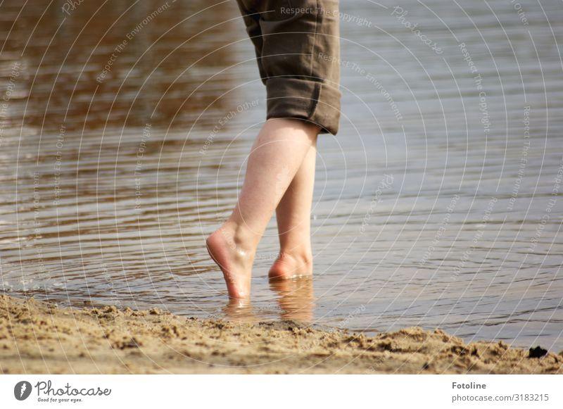 Huuuuu kalt! Kind Mensch Natur Sommer Wasser Beine Umwelt natürlich feminin Küste Fuß See Schwimmen & Baden braun Sand