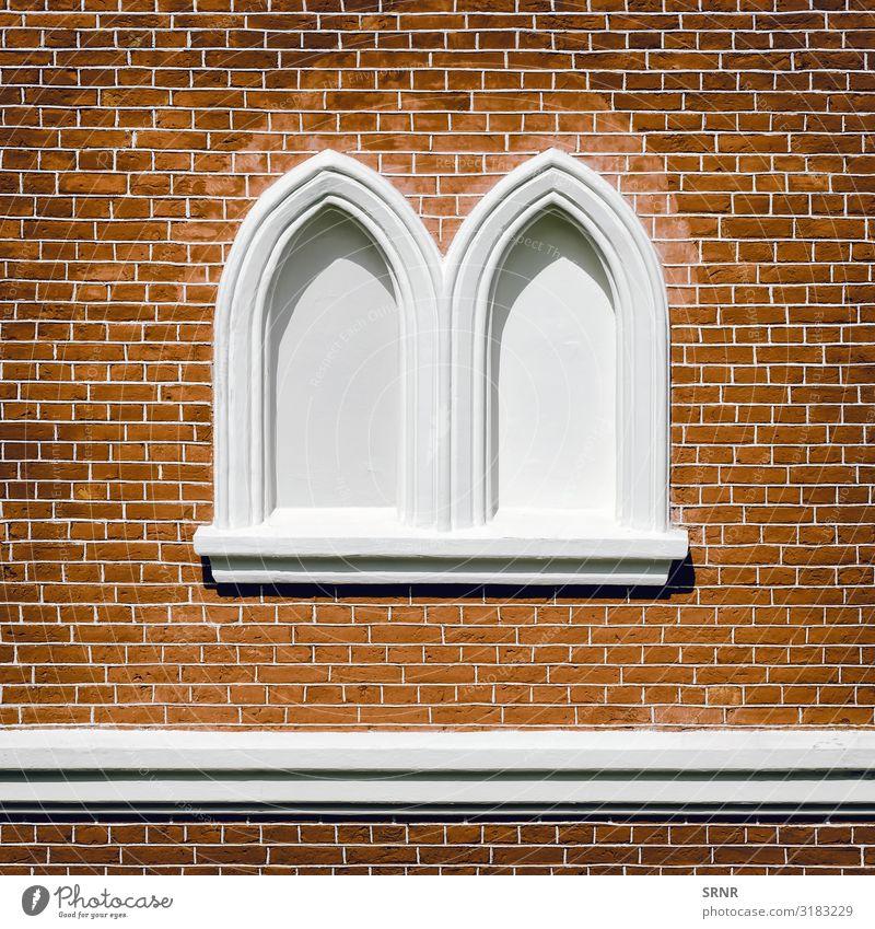 Verkleidete Fenster Design Gebäude Architektur Fassade Stadt antik Bogen leeres Fenster Baustein Ziegelmauerwerk Ziegeleinstellung zugemauertes Fenster