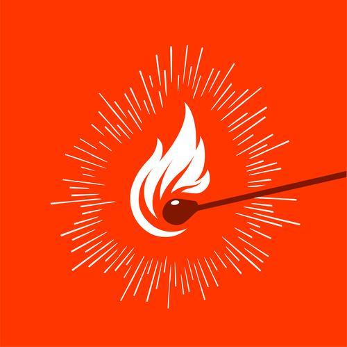grafische Darstellung eines beleuchteten Holzstreichholzes Design Kunst heiß hell rot Logo Streichholz Vektor Zündholz Feuer Ikon kleben Grafik u. Illustration