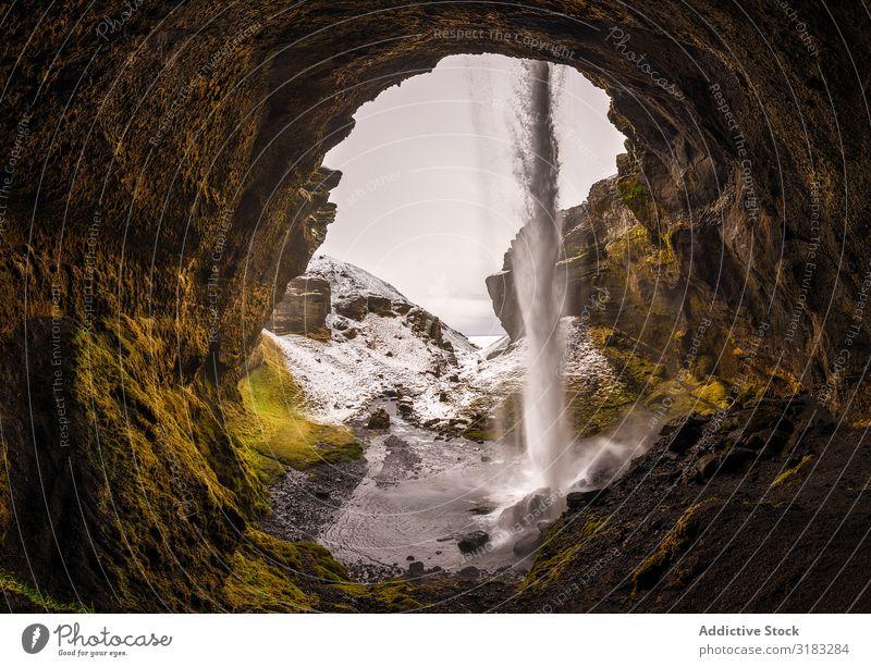 Kvernufoss Wasserfall in Island Fluss kvernufoss Natur Europa grün Hintergrundbild Aussicht natürlich Ferien & Urlaub & Reisen Landschaft Außenaufnahme