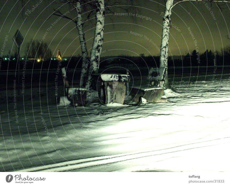 Sitzecke Nacht Baum Langzeitbelichtung Bank Schnee