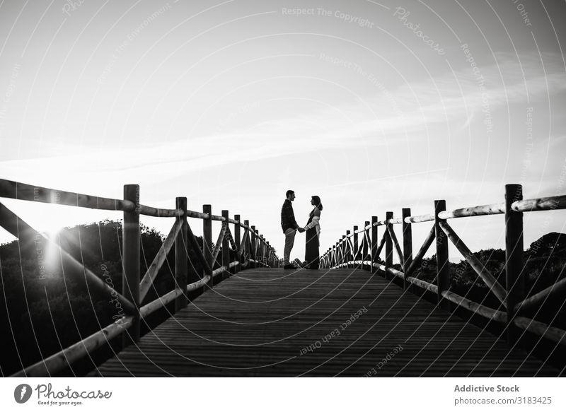 Paar auf der Brücke gegen den Sonnenuntergangshimmel Himmel Liebe Datteln Händchenhalten schwanger Glück bauchfrei Erwachsene Angebot Partnerschaft Mann Frau