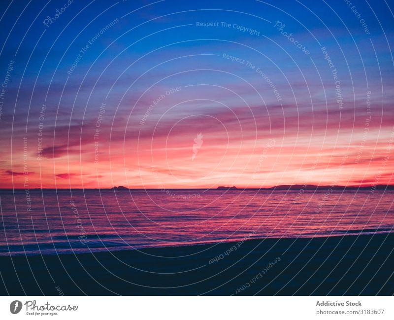 Sonnenuntergang am Himmel am Meer Küste Meereslandschaft Abend Orange Wolken Natur Ferien & Urlaub & Reisen Tourismus Abenteuer Ausflug Landschaft wandern