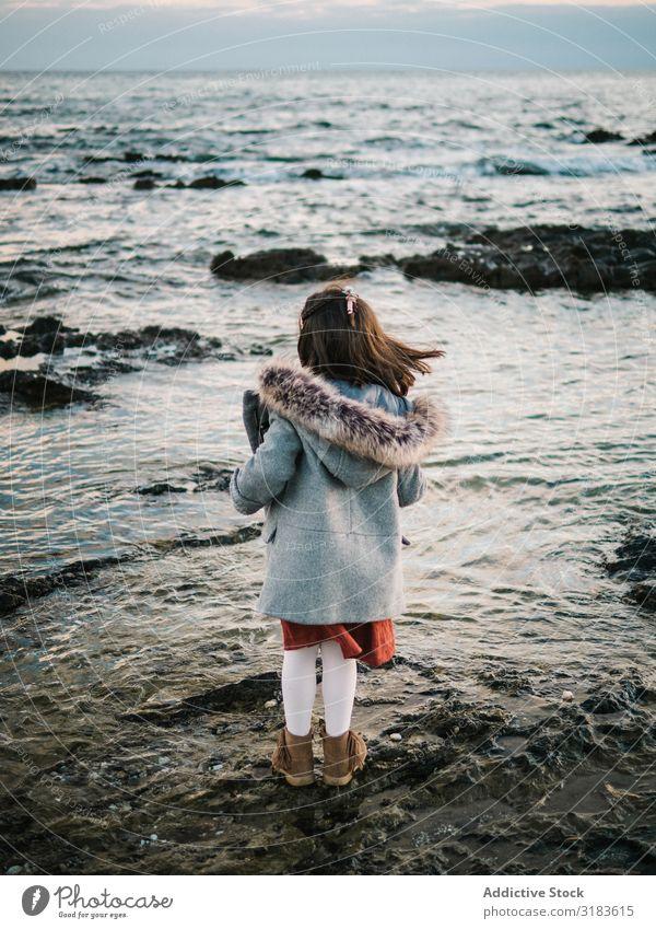 Rückansicht des kleinen Mädchens mit Blick auf das Meer Strand Aussicht Freiheit Rücken reizvoll Winter stehen Kind Sand Wasser Ferien & Urlaub & Reisen weiß