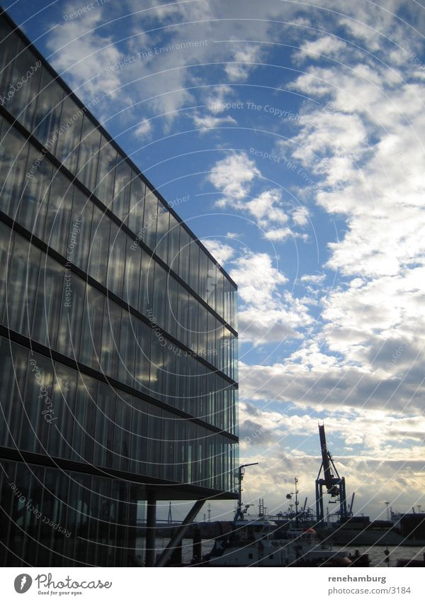 Hamburg Hafen 1 Hafencity Kran Wolken Architektur Wasser Himmel