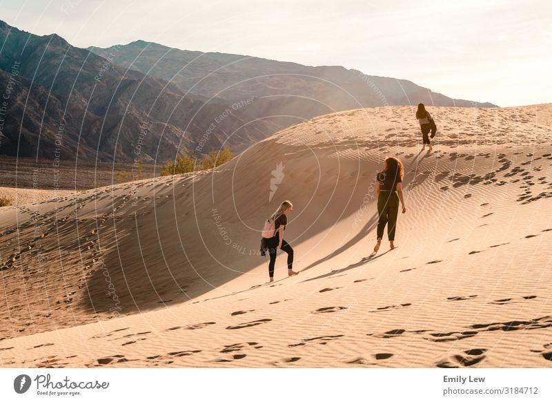 Sanddünen im Death Valley Tal des Todes Fußspuren wüst reisen Fernweh Wanderer wandern erkunden sonniger Tag Landschaft Ferien & Urlaub & Reisen