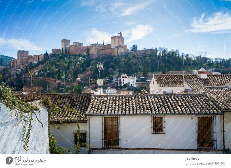 Blick auf die Alhambra von Granada vom Albaicin aus schön Ferien & Urlaub & Reisen Tourismus Berge u. Gebirge Kultur Landschaft Himmel Wolken Palast