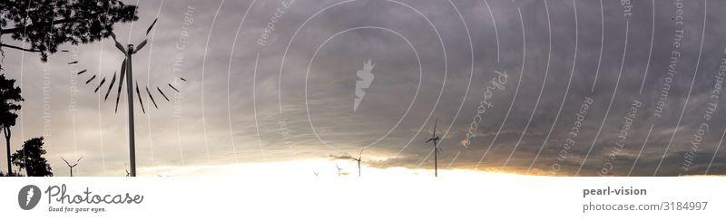 windzeit Windkraftanlage Umwelt Natur Wolken Klimawandel Wetter Zifferblatt Zeit Farbfoto Außenaufnahme Textfreiraum rechts Textfreiraum oben Abend Dämmerung