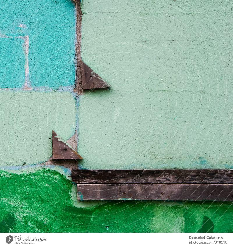 Wandgestaltung blau Stadt grün Haus Mauer Architektur Holz Stein Kunst braun Arbeit & Erwerbstätigkeit Fassade Design trist