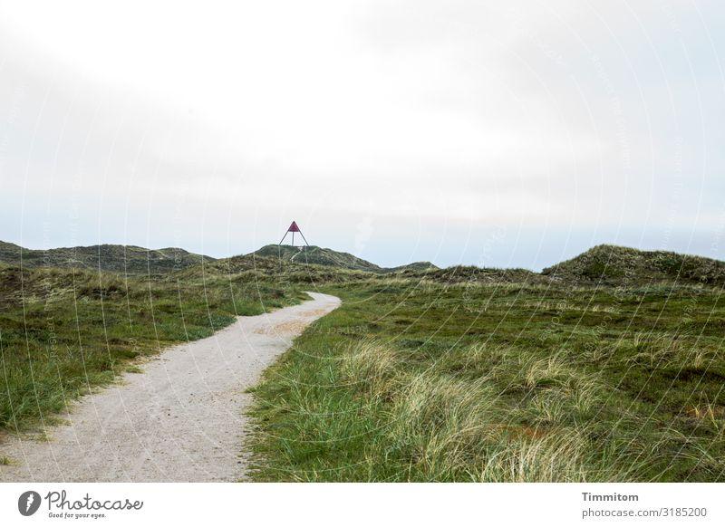 Weg zum Seezeichen Ferien & Urlaub & Reisen Umwelt Natur Landschaft Himmel Schönes Wetter Pflanze Düne Sehenswürdigkeit Wege & Pfade hell natürlich blau grün