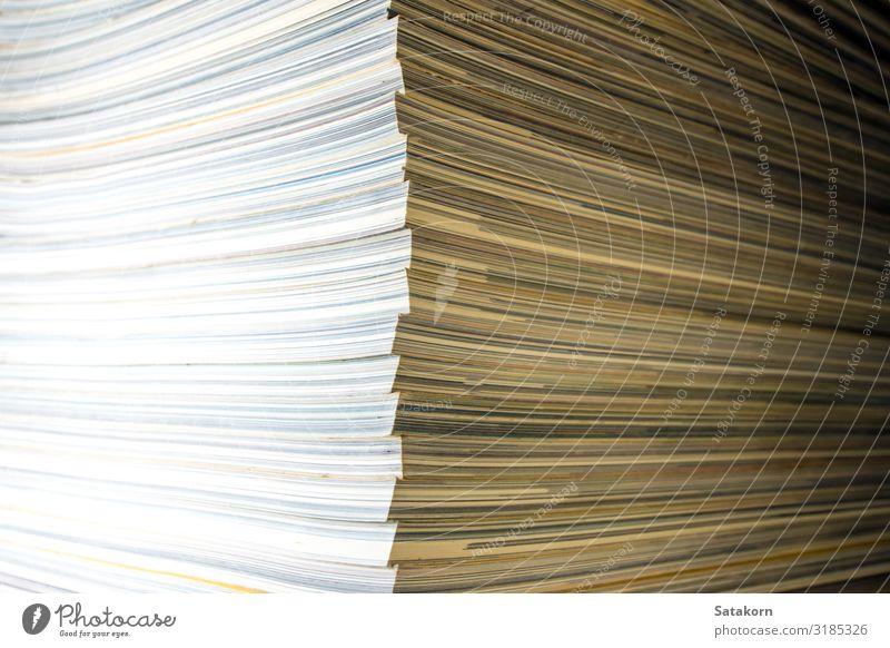 Das Gegenteil von Rückenmagazin lesen Buch Bibliothek Papier Sammlung gelb weiß Magazin monatlich Stapel Anhäufung Hintergrund Bildung Presse Problem