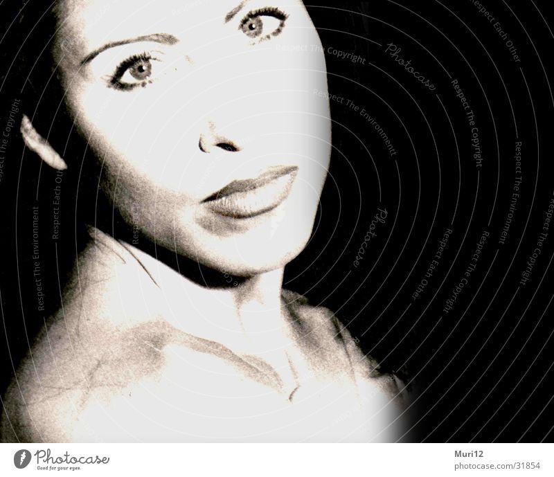 Weibliche Lust Porträt Belichtung Schulter Mensch Schwarzweißfoto Gesicht