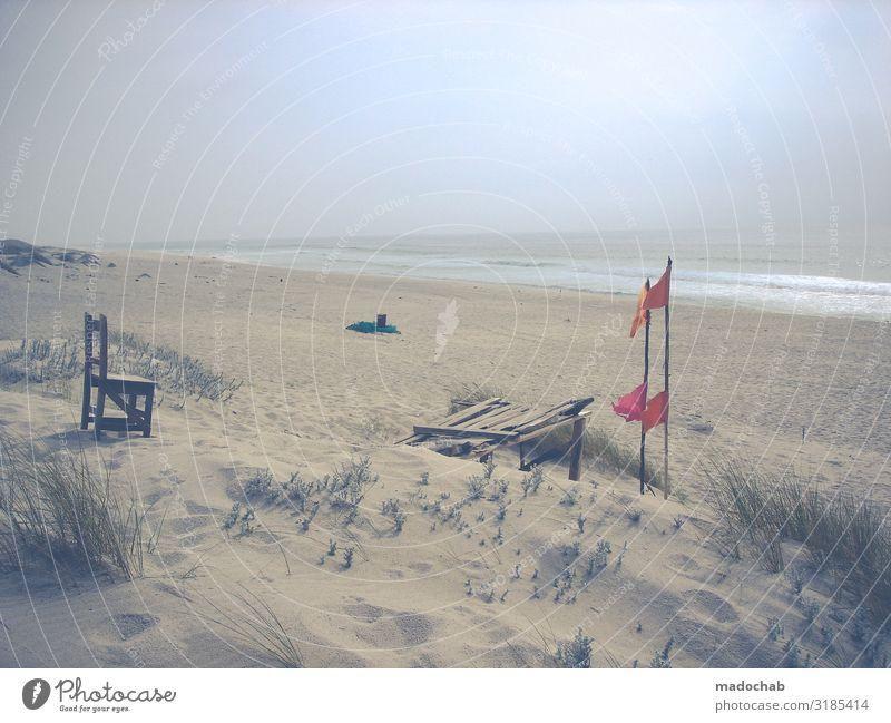 Sehnsucht Klima Klimawandel Küste Strand Bucht Meer Sand Zeichen Hoffnung Fernweh Einsamkeit Erschöpfung Endzeitstimmung Sorge stagnierend Umwelt