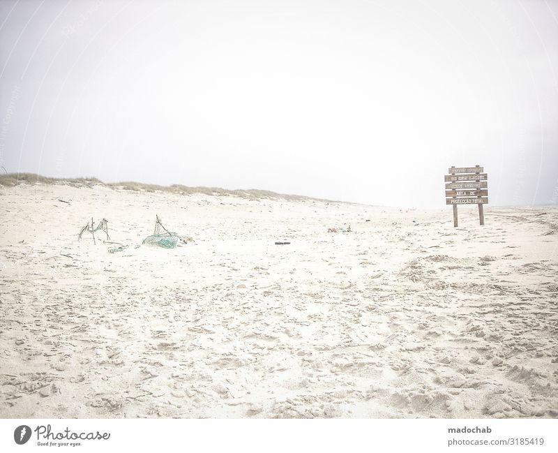 Strandgut Ferien & Urlaub & Reisen Umwelt Natur Landschaft Sand schlechtes Wetter Schilder & Markierungen Hinweisschild Warnschild Romantik ruhig Sehnsucht