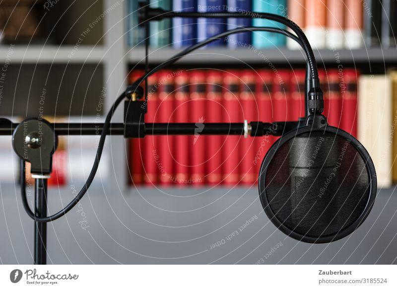Podcasting / Mikro mit Pop-Filter rot schwarz sprechen grau Arbeit & Erwerbstätigkeit modern Kommunizieren Buch Idee Internet Informationstechnologie Medien