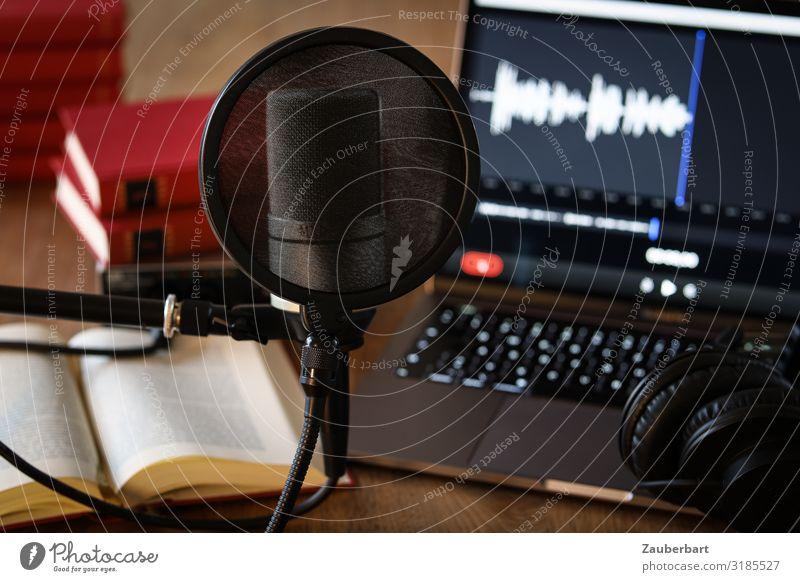 Podcasting / Arbeitsplatz rot schwarz sprechen grau Arbeit & Erwerbstätigkeit Erfolg Buch Wandel & Veränderung Neugier Kabel Notebook Kopfhörer Optimismus
