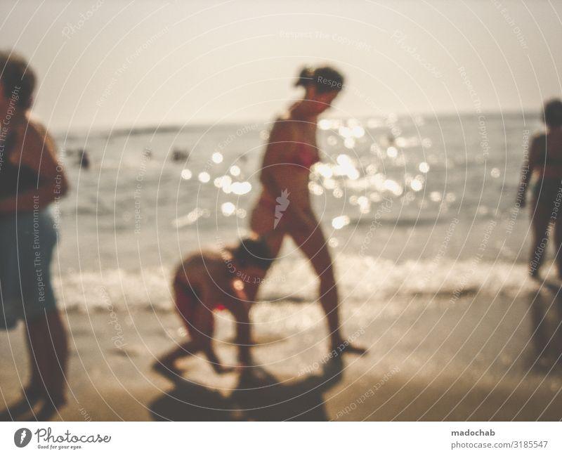 Sommerurlaub Strandurlaub Sommer Sonne Meer Strand Lifestyle Ferien & Urlaub & Reisen Tourismus Ausflug Sonnenbad Mensch feminin Kind Frau Erwachsene Leben