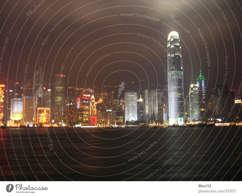 Hong Kong at Night Wasser Erfolg Hafen Skyline