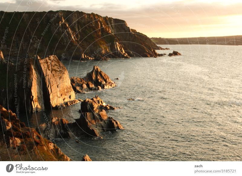 am Ende des Tages Landschaft Wasser Sonnenaufgang Sonnenuntergang Schönes Wetter Hügel Felsen Wellen Küste Meer Insel Britische Inseln Großbritannien Wales