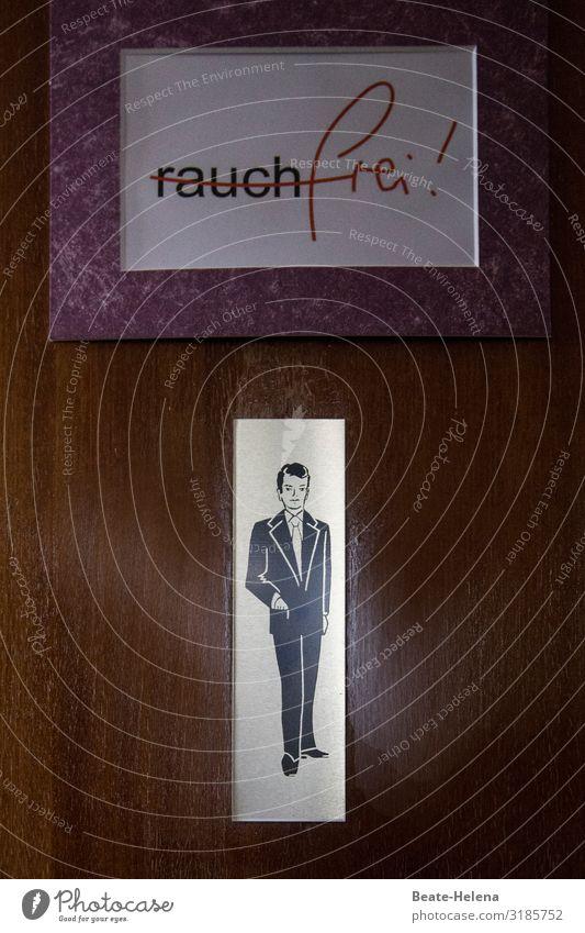 Nur für (rauch)freie Männer Toilette Restaurant Gastronomie Mann Erwachsene Dorf Tür Anzug Zeichen Schriftzeichen Schilder & Markierungen Hinweisschild