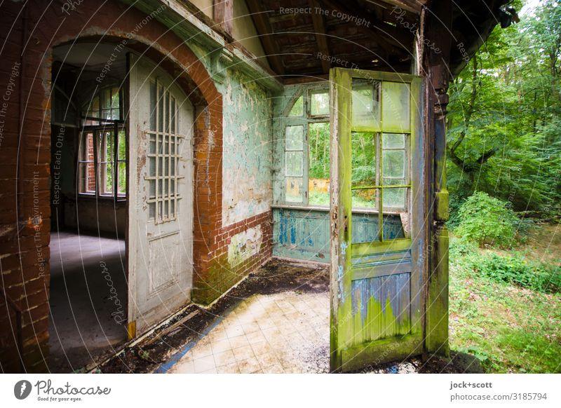 Grün vor der Tür einer Ruine Architektur lost places Sommer Baum Wiese Villa Heilstätte Terrasse Dach authentisch dreckig elegant historisch kaputt Stimmung
