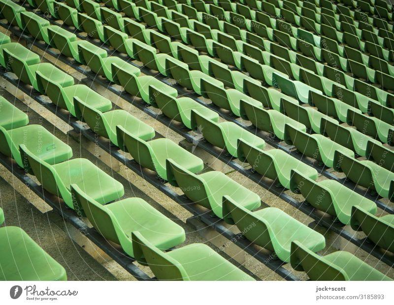 gleich grün Stil Tribüne Sportstätten Stadion Sitz Prenzlauer Berg Sammlung Sitzreihe Kunststoff Reihe authentisch frei lang viele Stimmung Ordnungsliebe