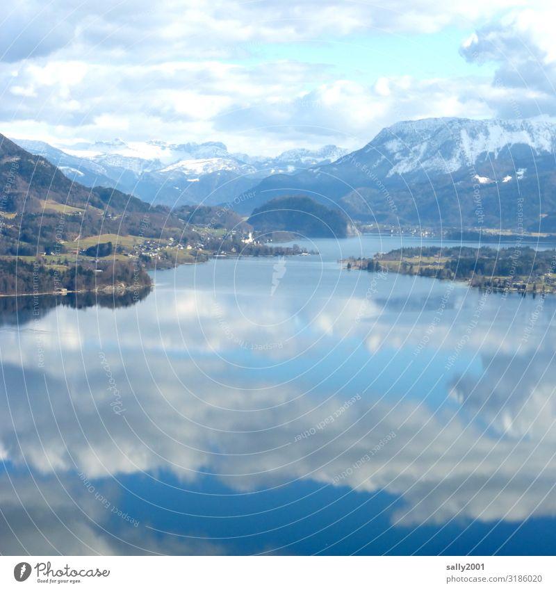 Winter im Salzkammergut... Landschaft Wolken Alpen Schneebedeckte Gipfel Seeufer Zufriedenheit Erholung stagnierend Tourismus Österreich Reflexion & Spiegelung