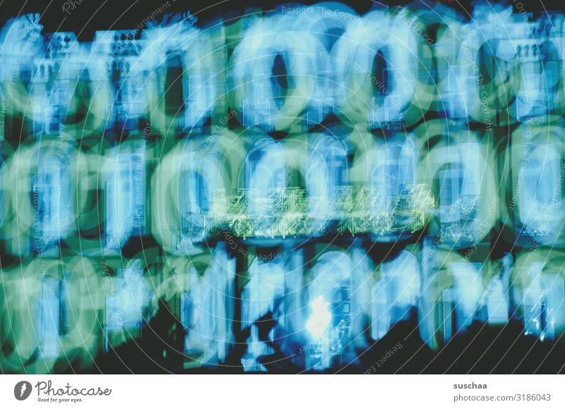 nullen & einsen | unscharf Nullen & Einsen 0 1 Ziffern & Zahlen digital ein/aus Licht hell und dunkel digitales Zeitalter abstrakt Farbe blau-grün Unschärfe