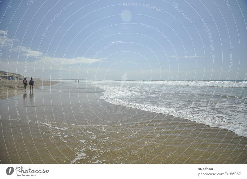 küstenlandschaft Meer Sommer Sonne Ferien & Urlaub & Reisen Strand Küste Wellen Mensch Tourist Spaziergang Wellness Zeit stagnierend träumen Wasser Luft Himmel