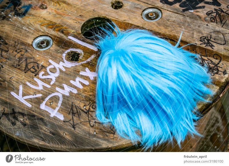 Puschelpunx II   UT HH19 Friseur Dienstleistungsgewerbe Accessoire Perücke Punk Holz Schriftzeichen frech Freundlichkeit Fröhlichkeit trendy einzigartig blau
