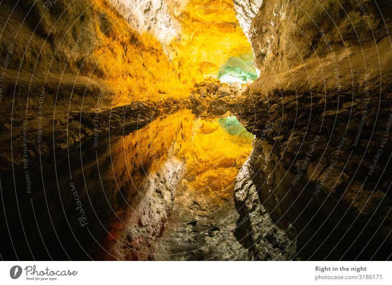 Höhlenspiegel Natur grün Wasser Landschaft gelb Umwelt braun grau Felsen Erde Vulkan Illusion