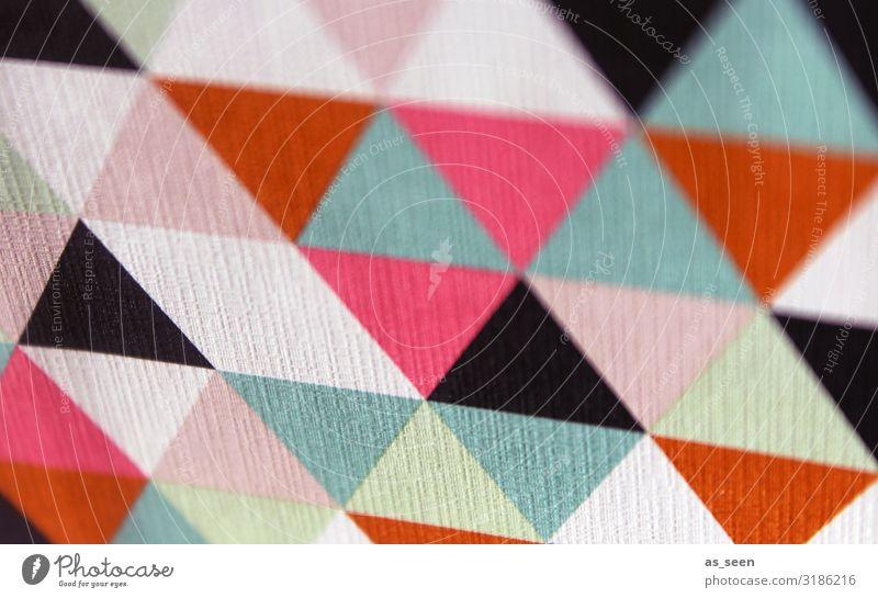 Bunte Ecken Kunst Kunstwerk Papier Ornament leuchten ästhetisch Coolness eckig Freundlichkeit trendy Spitze feminin mehrfarbig rosa rot türkis weiß Freude