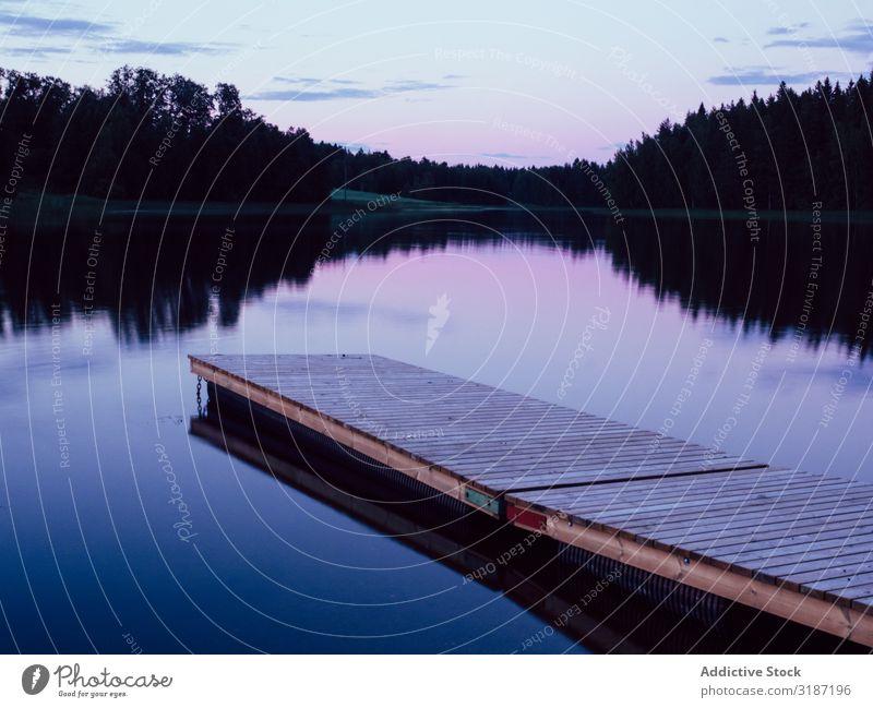 Holzbohlenfußweg im ruhigen Abendsee geplankt Fußweg Landschaft See Natur Wasser Ferien & Urlaub & Reisen Tourismus Freizeit & Hobby schön Wald Park blau Himmel