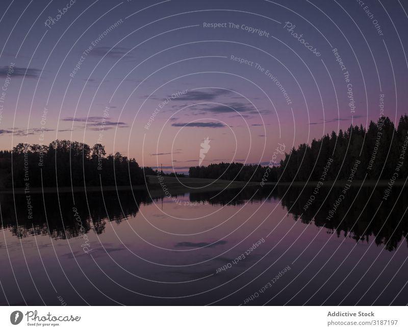 Sonnenuntergangslandschaft mit Fluss und Wald Landschaft Ferien & Urlaub & Reisen Freizeit & Hobby Tourismus Finnland Sommer grün Wasser Himmel Wolken ruhig