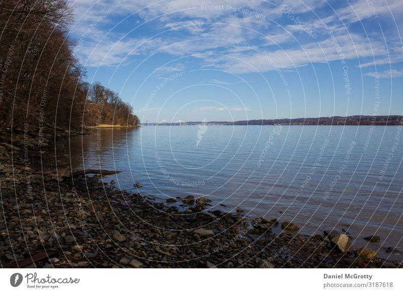 Palisaden am Hudson River entlang Umwelt Natur Landschaft Wasser Himmel Wolken Horizont Sommer Schönes Wetter Baum Park Fluss wandern Abenteuer