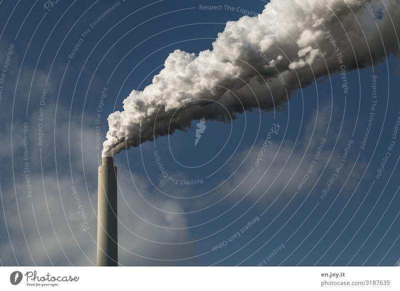 Zukunft? Himmel Stadt Umwelt Energiewirtschaft Schönes Wetter gefährlich Industrie Klima Zukunftsangst Rauchen Fabrik Umweltschutz nachhaltig Schornstein