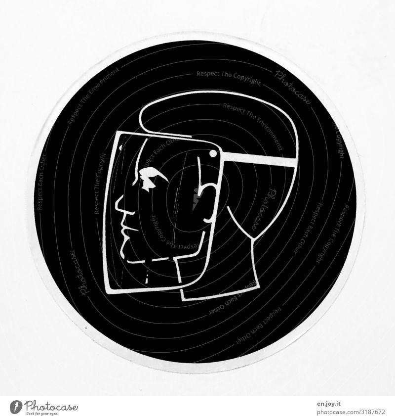Corona Thoughts |Schild Mann mit Schutzmaske Labor Beruf Laborant Chemielaborant Chemiker Industrie Gesundheitswesen Wissenschaften Fortschritt Zukunft