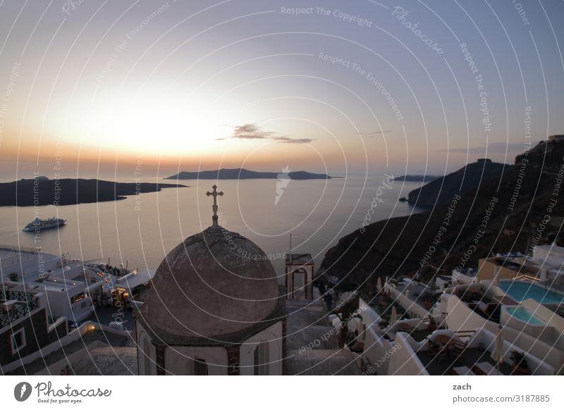 weitsichtig | bis zum Horizont Wasser Himmel Sonnenaufgang Sonnenuntergang Schönes Wetter Hügel Vulkan Caldera Küste Meer Mittelmeer Ägäis Insel Kykladen