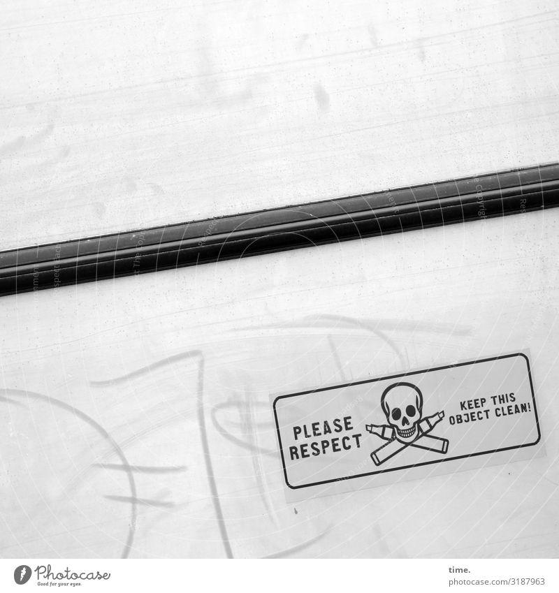 Geschriebenes | unerhörte Bitte Graffiti Dekoration & Verzierung hell Metall Schriftzeichen Glas Schilder & Markierungen Hinweisschild Wandel & Veränderung
