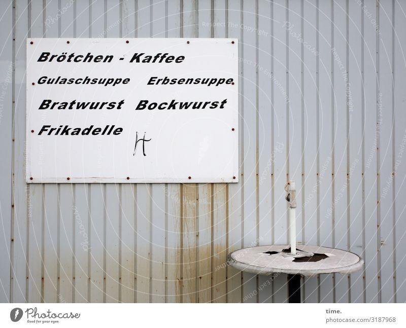 Mittagstisch Lebensmittel Ernährung Mittagessen Tisch Dienstleistungsgewerbe Gastronomie Imbiss Hütte Mauer Wand Metall Schriftzeichen Schilder & Markierungen