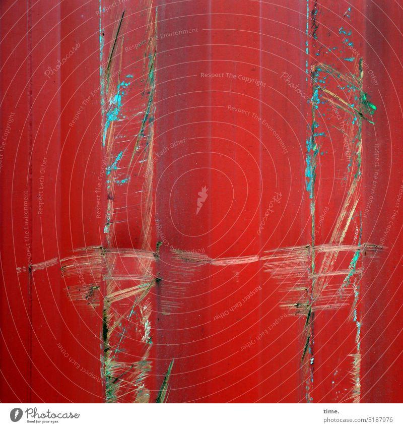 Lebenslinien #122 Container Schramme Riss Rost Lack Metall Linie Streifen bedrohlich dreckig Erfolg kaputt trashig rot Ausdauer standhaft Erschöpfung Stress