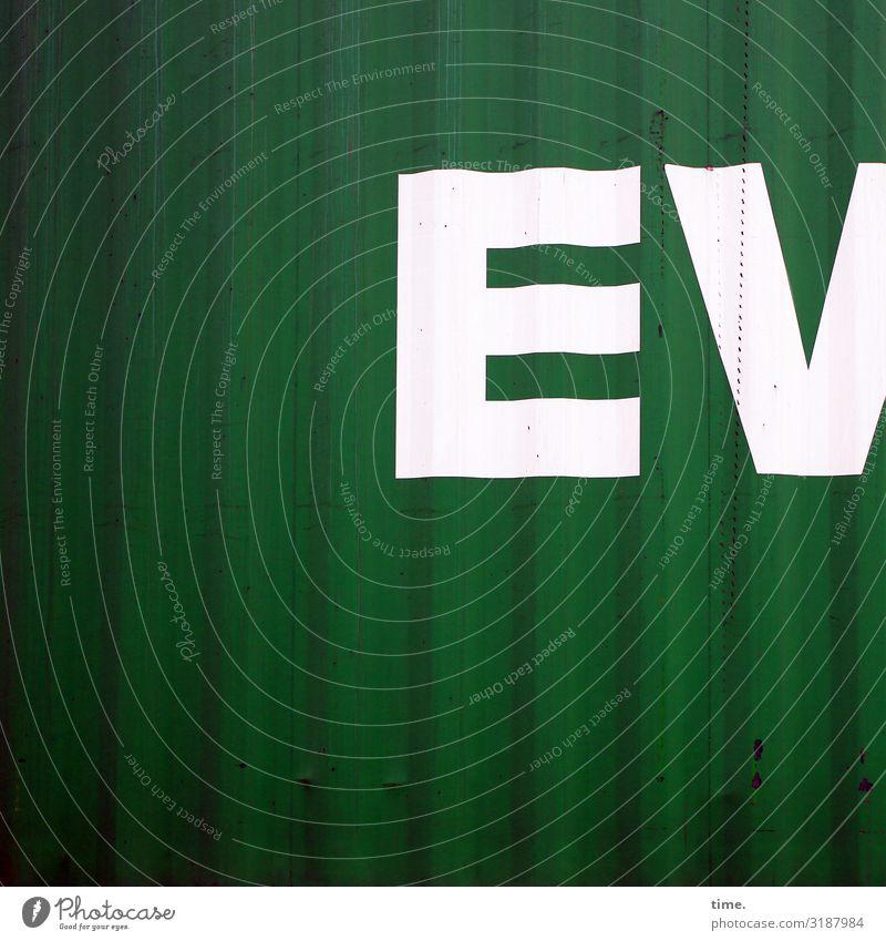 EV Arbeit & Erwerbstätigkeit Arbeitsplatz Lager Güterverkehr & Logistik Dienstleistungsgewerbe Container Metall Schriftzeichen Linie Streifen dunkel grün weiß