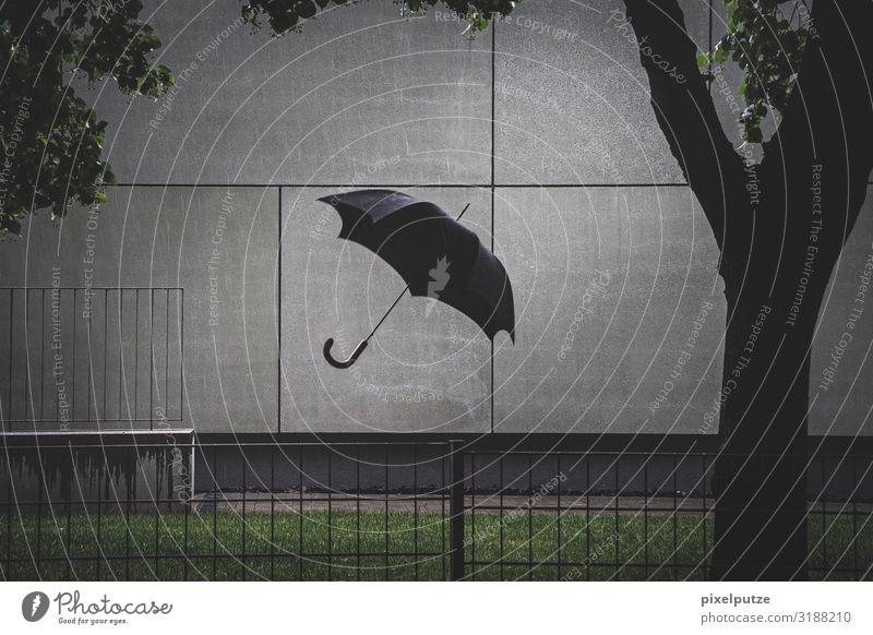 Invisible englishman Stadt dunkel Architektur Wand Gebäude Garten Mauer außergewöhnlich fliegen Regen Wetter Wind verrückt nass Regenschirm Unwetter