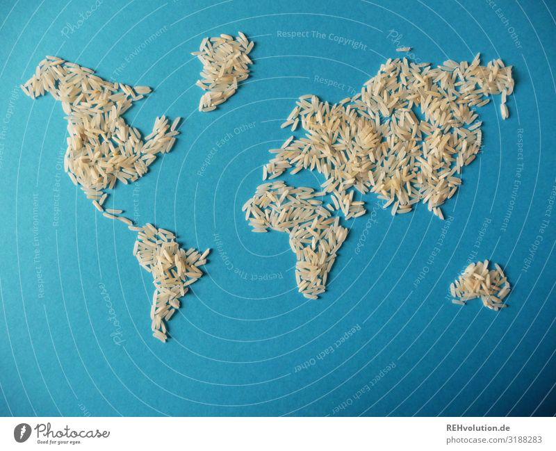 Weltkarte aus Reis Globus Umwelt Ressource Kontinente Appetit & Hunger notleidend Essen Lebensmittel Erde Planet blau Papier graphisch abstrakt Idee Kreativität