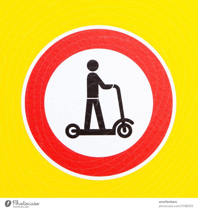 Verbotsschild Elektroroller auf gelbem Hintergrund Sport Energiewirtschaft Mensch 1 Verkehr Verkehrswege Personenverkehr Straßenverkehr Zeichen
