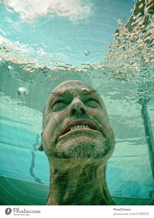 Poseidon ist zornig Mensch Mann blau Meer Freude Lifestyle Erwachsene Gefühle Haare & Frisuren Kopf Schwimmen & Baden Stimmung Angst Körper 45-60 Jahre Kultur