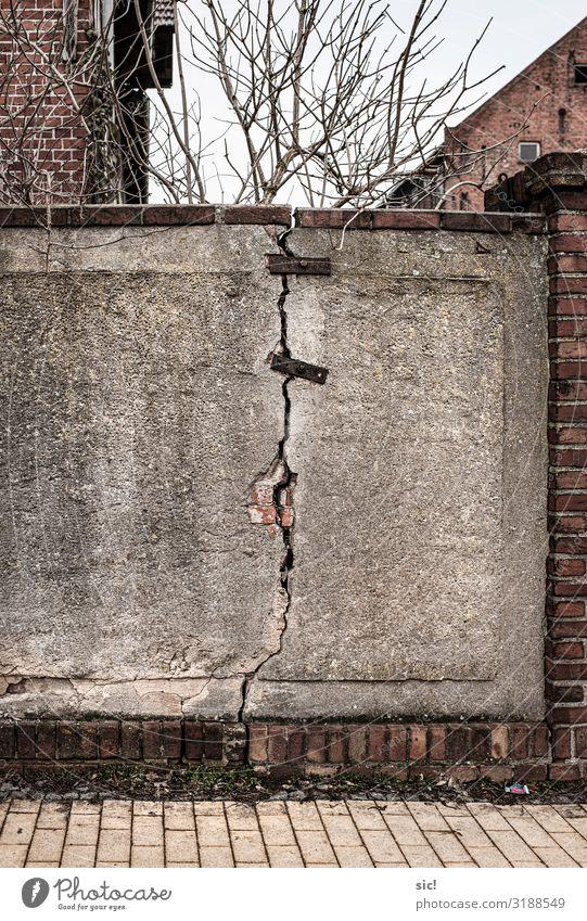 Broken Wall 02 rot Wand Gebäude Garten Mauer Stein braun grau Beton Rost Stahl Backstein Handwerk Renovieren Optimismus Problemlösung